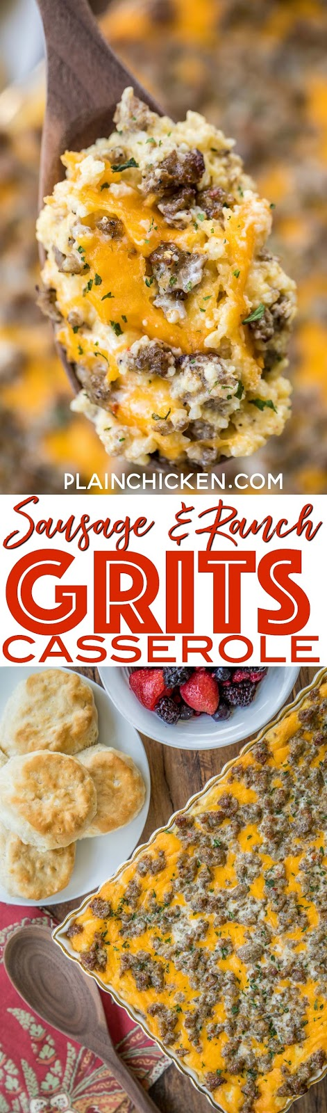 Sausage and Ranch Grits Casserole recipe - CRAZY good!!! We love this casserole for breakfast, lunch and dinner. Grits, chicken broth, milk, eggs, Velveeta, sausage, Ranch, cheddar cheese. Can make ahead and refrigerate or freeze for later. This always get RAVE reviews! SO good!!! #breakfast #casserole