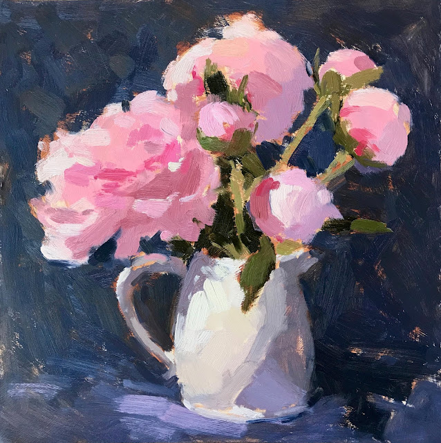 #349 'Peonies in a Ceramic Jug' 12×12″
