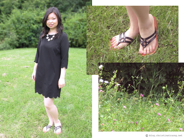 The August Fashion Lookbook featuring TOBI Sweetly Scalloped Dress, Costa Blanca Floral Pearl Statement Necklace, Cole Haan - Vineyard Thong Sandals