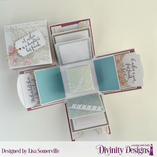 Divinity Designs Stamp Set: Daughter's Best Friend, Paper Collections: Shabby Rose, Shabby Pastels, Custom Dies: Explosion Box, Explosion Box Pockets & Layers, Mini Box, Rectangles, Squares, Scalloped Squares, Double Stitched Squares, Pierced Squares, Bitty Banners, A Gift for You (Tags), Embossing Folder: Cross Stitch