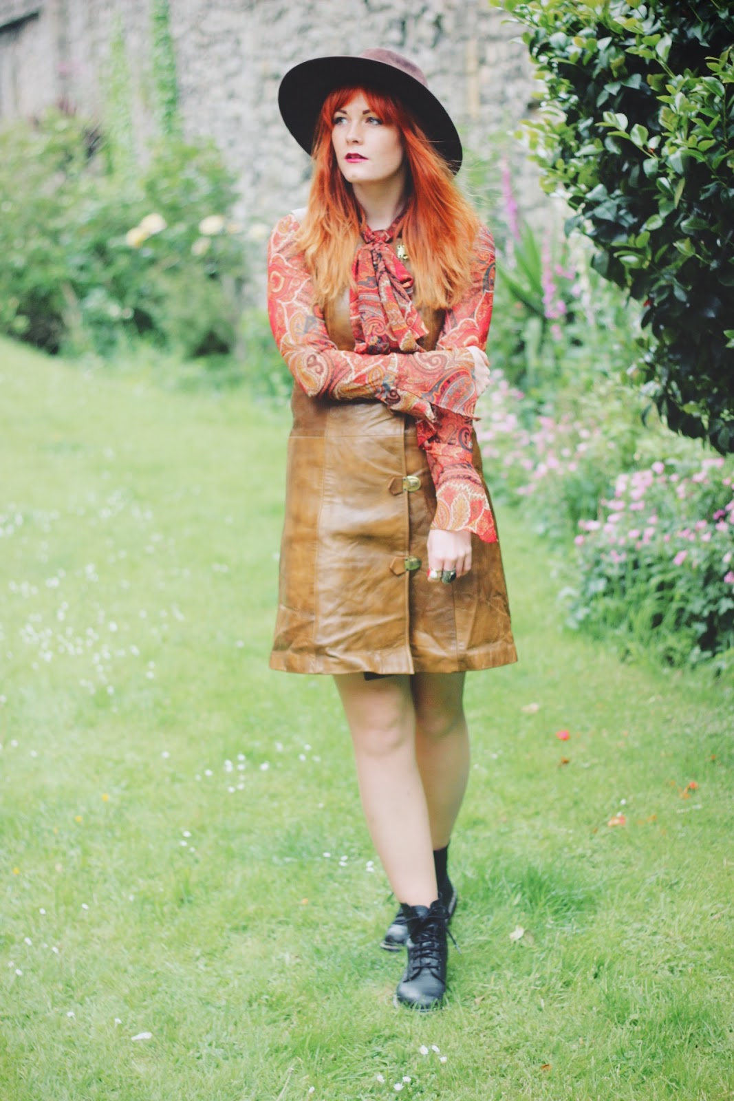 Beyond Retro Vintage Leather 70s Buckle Dress