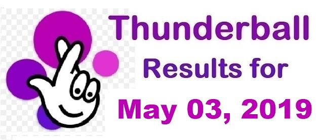 Thunderball results for Friday, May 03, 2019
