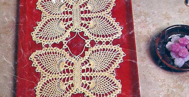 Patrón 1041 Cubre bandejas las Mariposas a Crochet