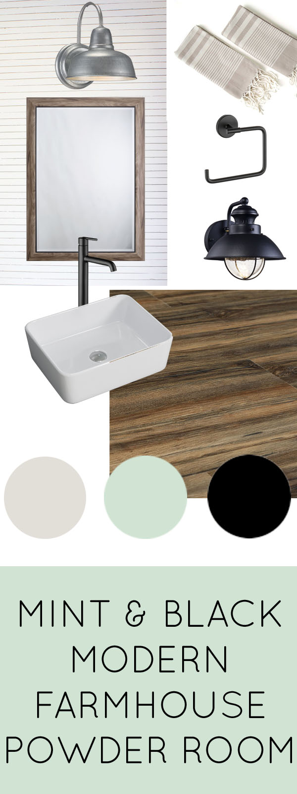 Check out these ideas for a modern farmhouse powder room with mint, black, and wood tones. Love the idea of a skinnylap backsplash!