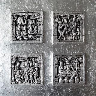 cuadros en relieves de budas