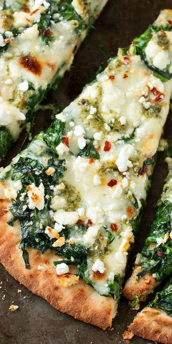 Three Cheese Pesto Spinach Flatbread Pizza