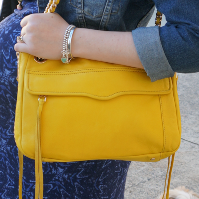 Away From The Blue Rebecca Minkoff canary yellow swing bag worn with denim jacket