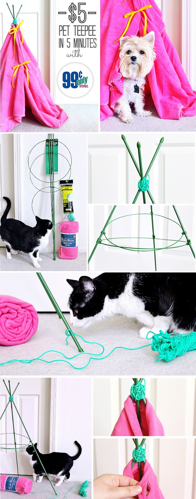 $5 No Skill Needed Kitty Teepee- Great for small dogs or kids' dolls! Celebrate Easter with your pets with you shop at 99 Cents Only Stores. Shop adorable Easter baskets and decor, and grab supplies for affordable D.I.Y pet toys! #99YourEaster #DoThe99 #DoingThe99 #AD