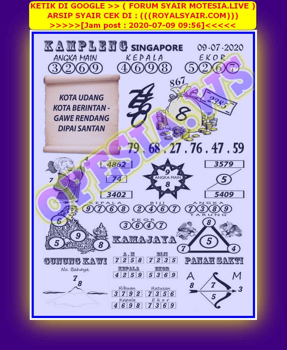 Kode syair Singapore Kamis 9 Juli 2020 18