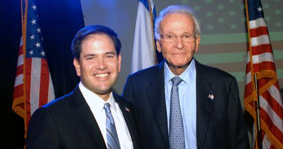 Marco Rubio and Norman Braman at a 2012 rally for Israel
