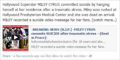 Miley Cyrus Facebook Scam Dead