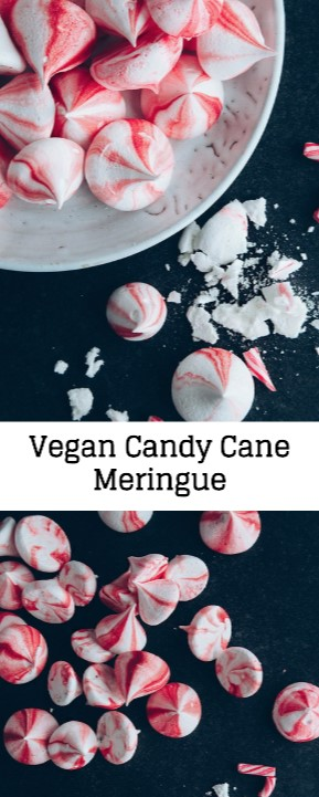 Vegan Candy Cane Meringue #christmas #candy