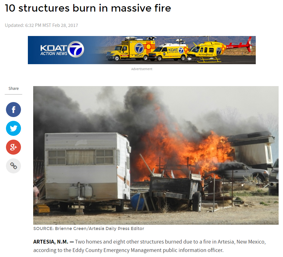 New Mexico Raked By High Winds -Blowing Dust - Fires