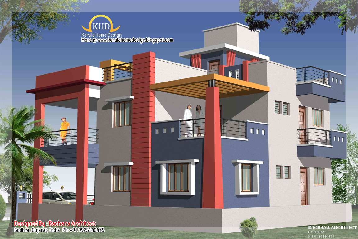 Duplex house plan and elevation 2349 sq ft indian for Indian small house photos