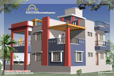Duplex House Plan and Elevation view 3 - 218 Sq M (2349 Sq. Ft.)