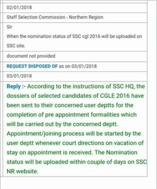 SSC CGL 2016 Nomination and Appointment RTI Reply (SSC NR)