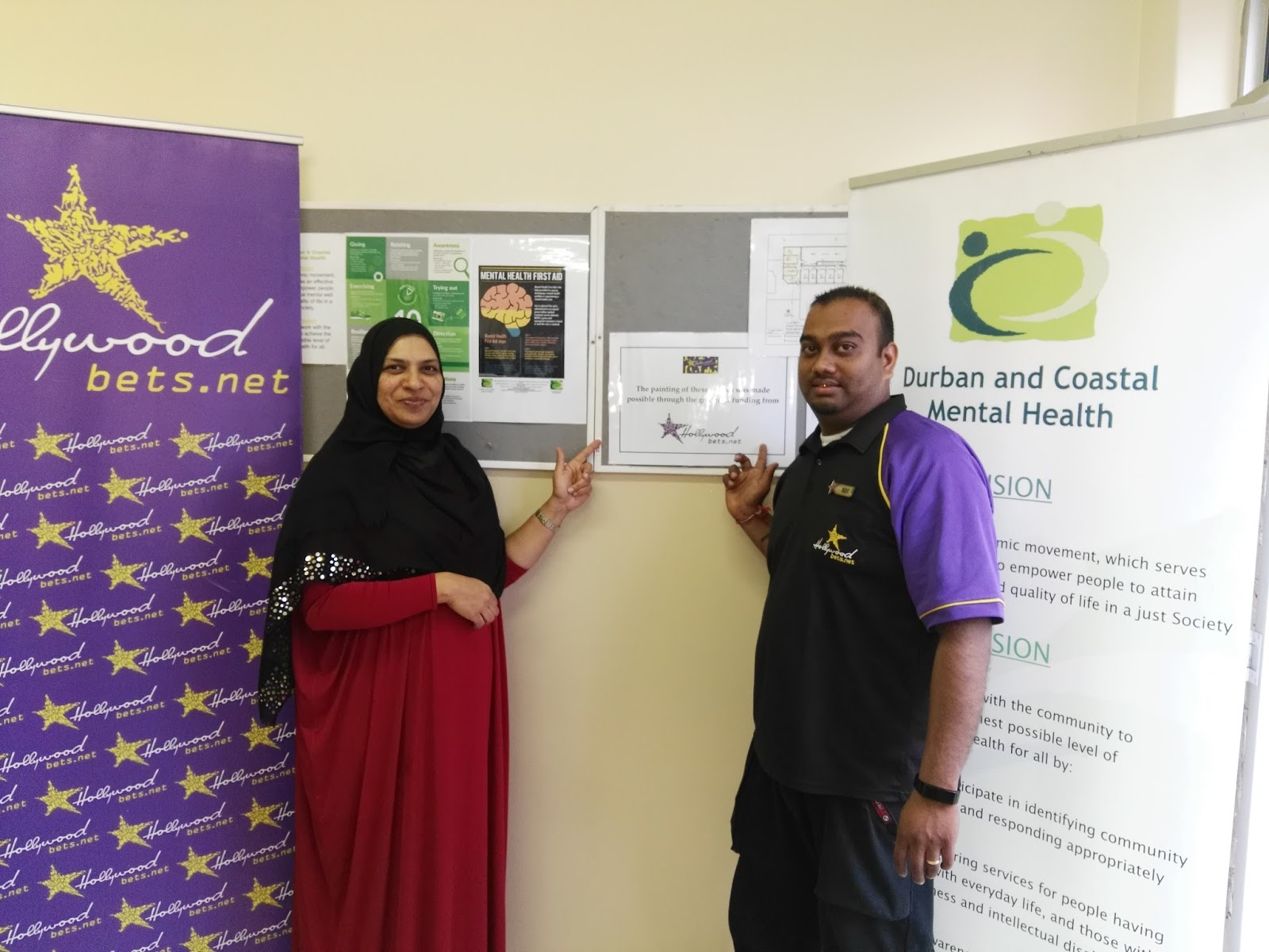 Team members from Hollywoodbets Springfield visited Durban and Coastal Mental Health to repaint their office space
