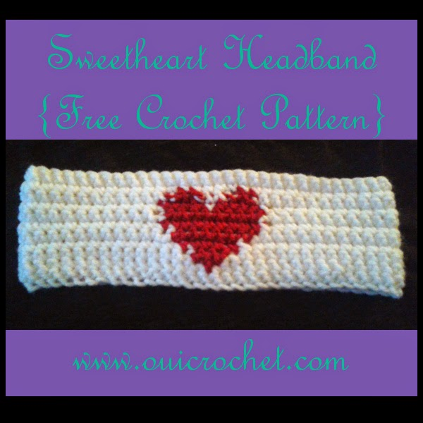 Crochet, Free Crochet Pattern, Crochet Headband, Crochet Ear Warmer, Crochet heart headband, Crochet Grid, Crochet Heart Grid,