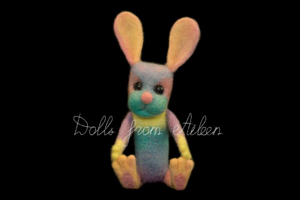 ooak needle felted rainbow bunny sitting