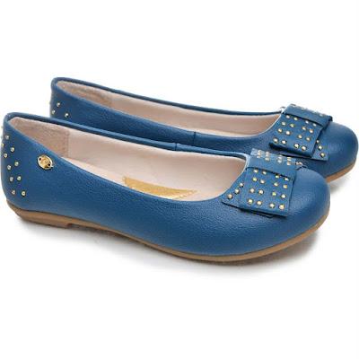 sapatilha azul linda bonita elegante moderna moda fashion retro rasteira caçado feminino sapato mulher laço brilho tacha tachinha
