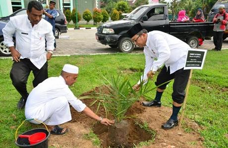 Pohon Kurma Hiasi Halaman Masjid Agung Nurul Iman