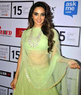 Kiara Advani in a Beautiful Lemon Green Chania Choli and Transparent Chunni at Lakme Fashion Week