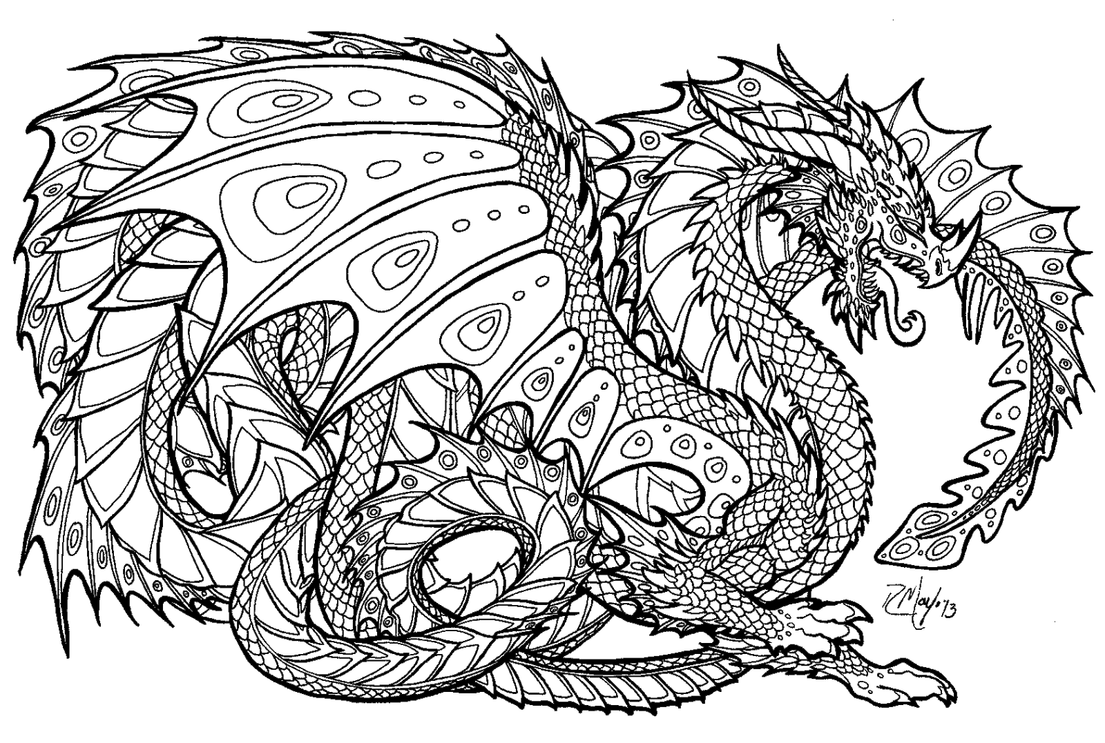 Free coloring page dragon