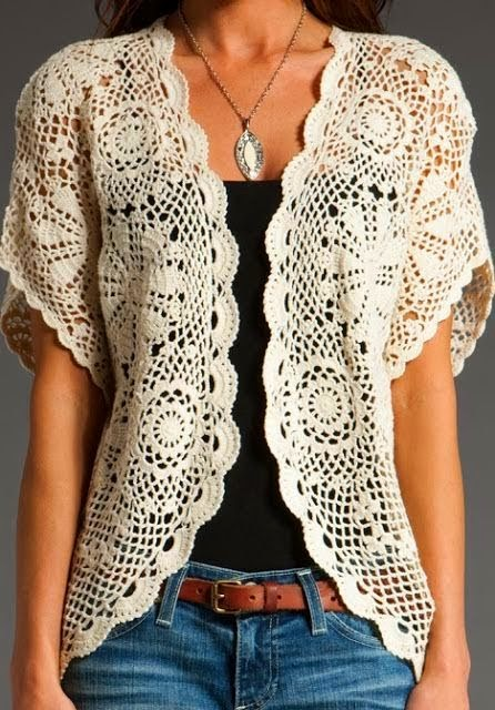 White Crochet Open Front Blouse