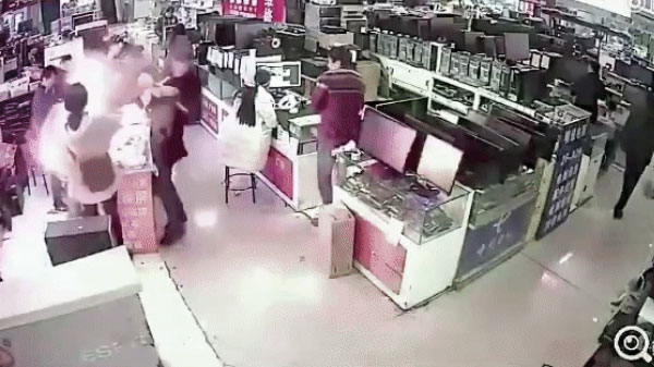 Battery explosion shocking video during her experience by a person throughBitten!