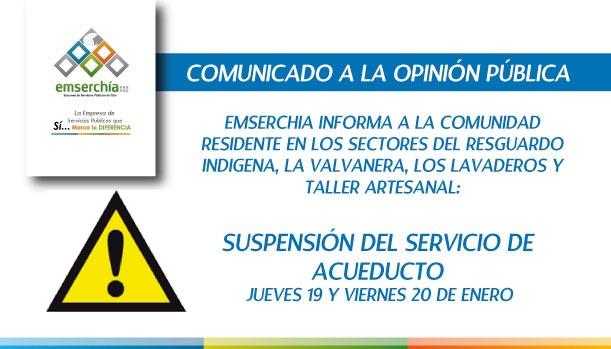 Suspensión del servicio de acueducto durante jueves y viernes en el occidente de Chía