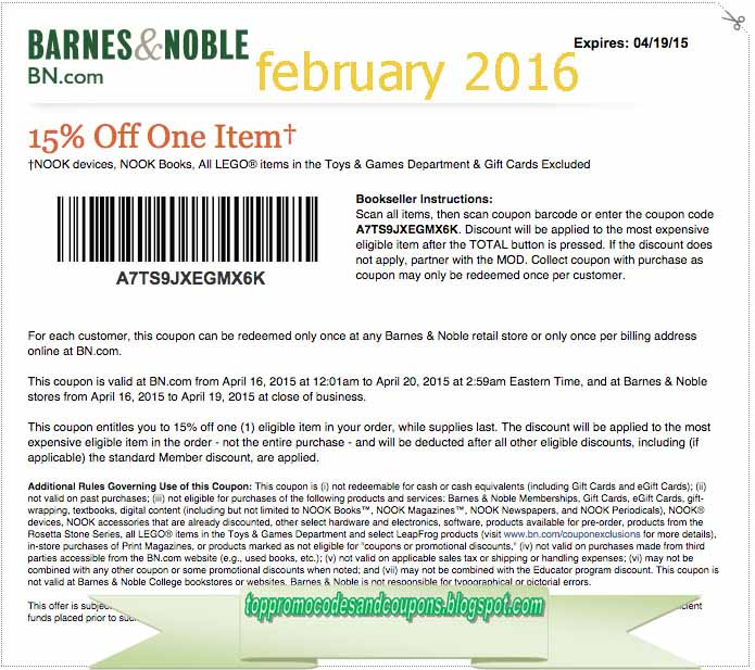 photograph about Barnes and Noble Printable Coupon known as Totally free Promo Codes and Discount coupons 2019: Barnes and Noble Coupon codes