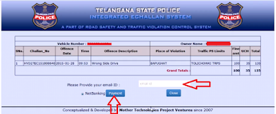 Step 4: Pay Traffic E-Challan Online