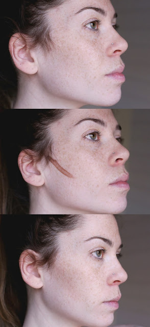 woman with liquid contour before during and after application