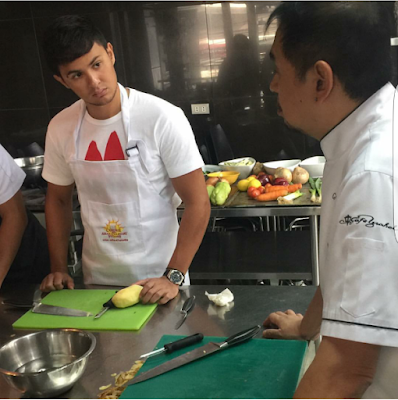 Matteo Guidicelli takes cooking lessons from Chef Gene Gonzalez