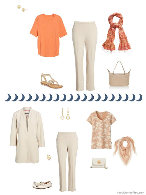2 outfits from a Tote Bag Travel capsule wardobe in ivory, chambray and apricot