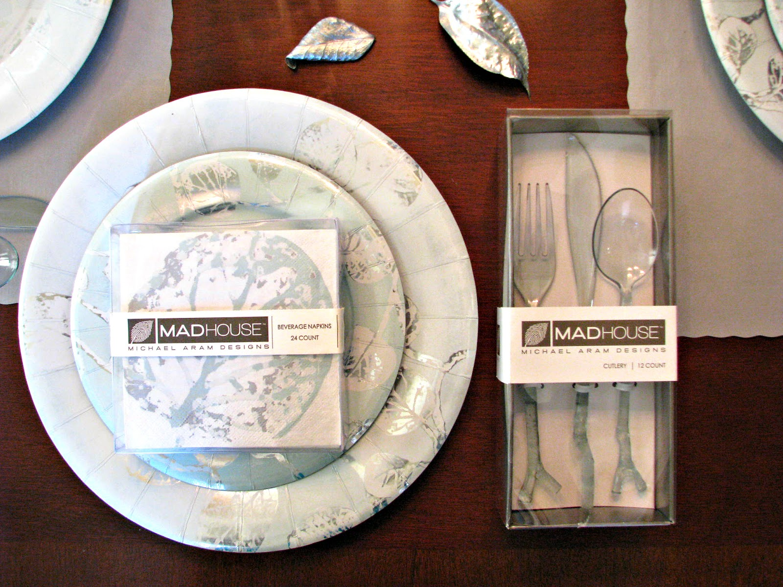 Silver and Teal Party Supplies with Twig Plastic Utensils
