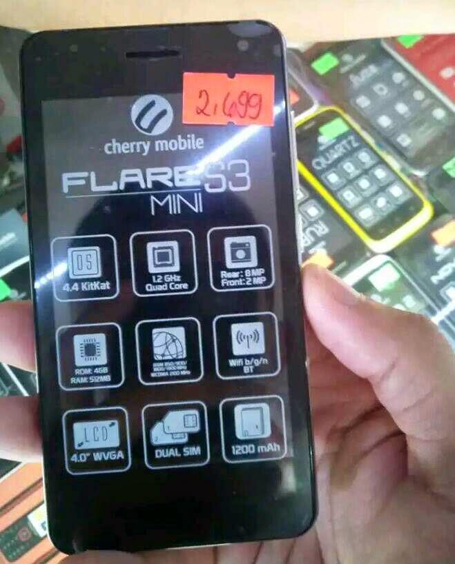 Cherry mobile flare s3 mini has a 4 inch wvga display quadband 2g