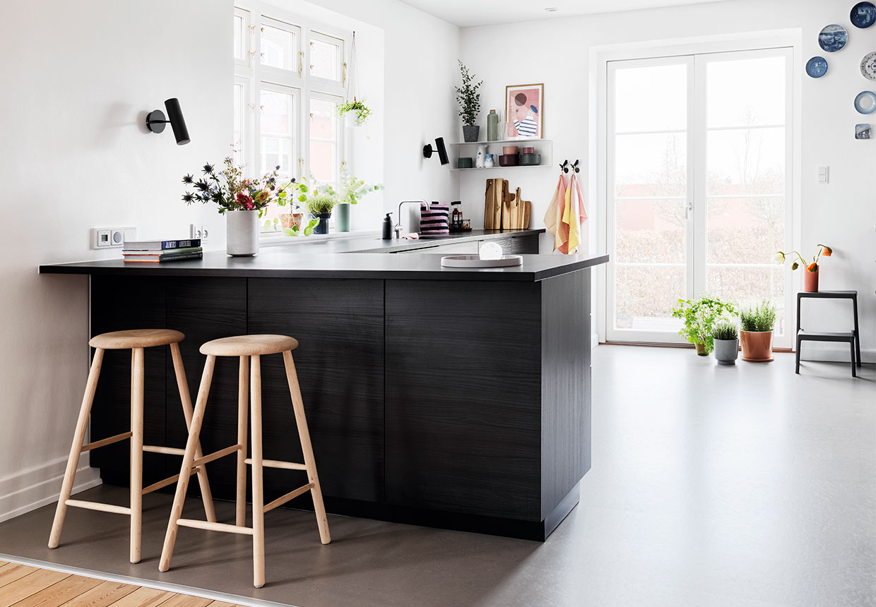 minimalist scandinavian interior kitchen inside of a spacious villa
