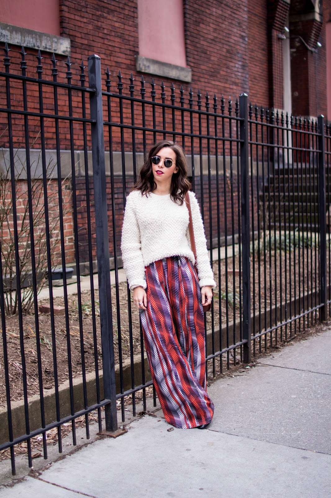 oversized wool sweater. printed pants. dc blogger.  wide leg pants.