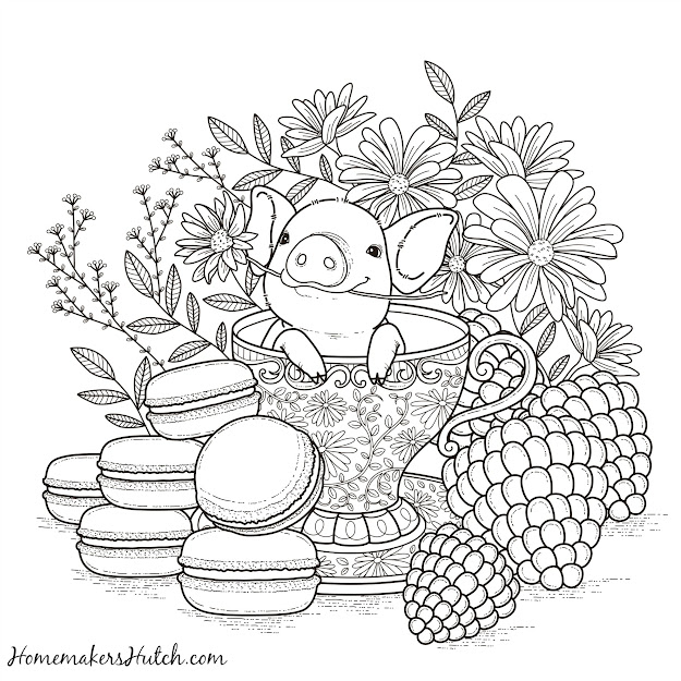 Pig In Tea Cup  Adult Coloring Page