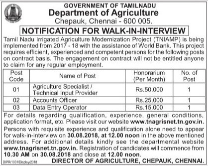 Walk-in-interview for Various Posts for Tamil Nadu Agriculture Department 18.08. 2018