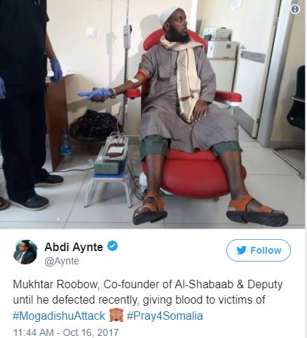 Former al-Shabab leader donates blood to help victims of Mogadishu bombing
