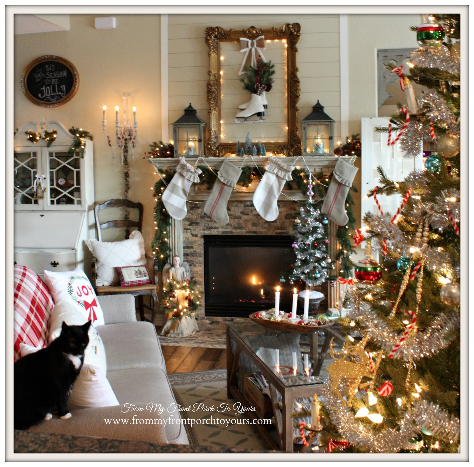 Farmhouse- Vintage- Christmas- Living Room-Fireplace-Tree-Kitty- From My Front Porch To Yours