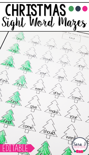 Editable sight word mazes with a Christmas tree theme are perfect for December or any winter month. Add your own words and the mazes will be automatically created for you!
