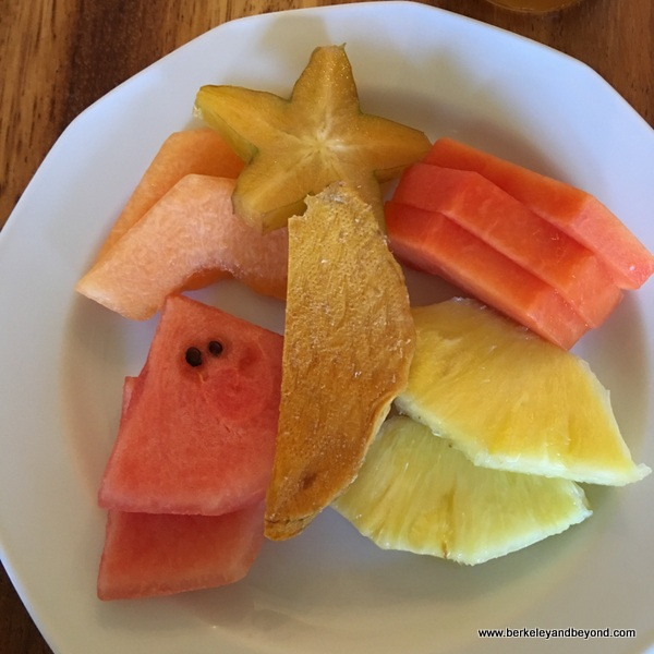 fresh fruit breakfast plate at El Delfin Restaurant at Hotel Garza Canela in San Blas, Mexico