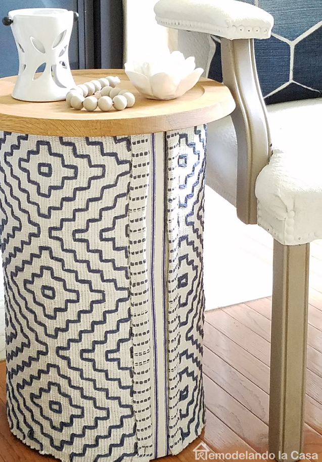 rug covering stump table