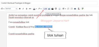 cara membuat link pada postingan di blog blogger