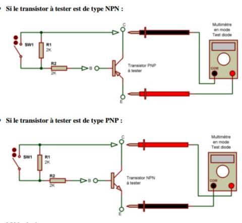 test des transistor NPN /PNP avec multimetre