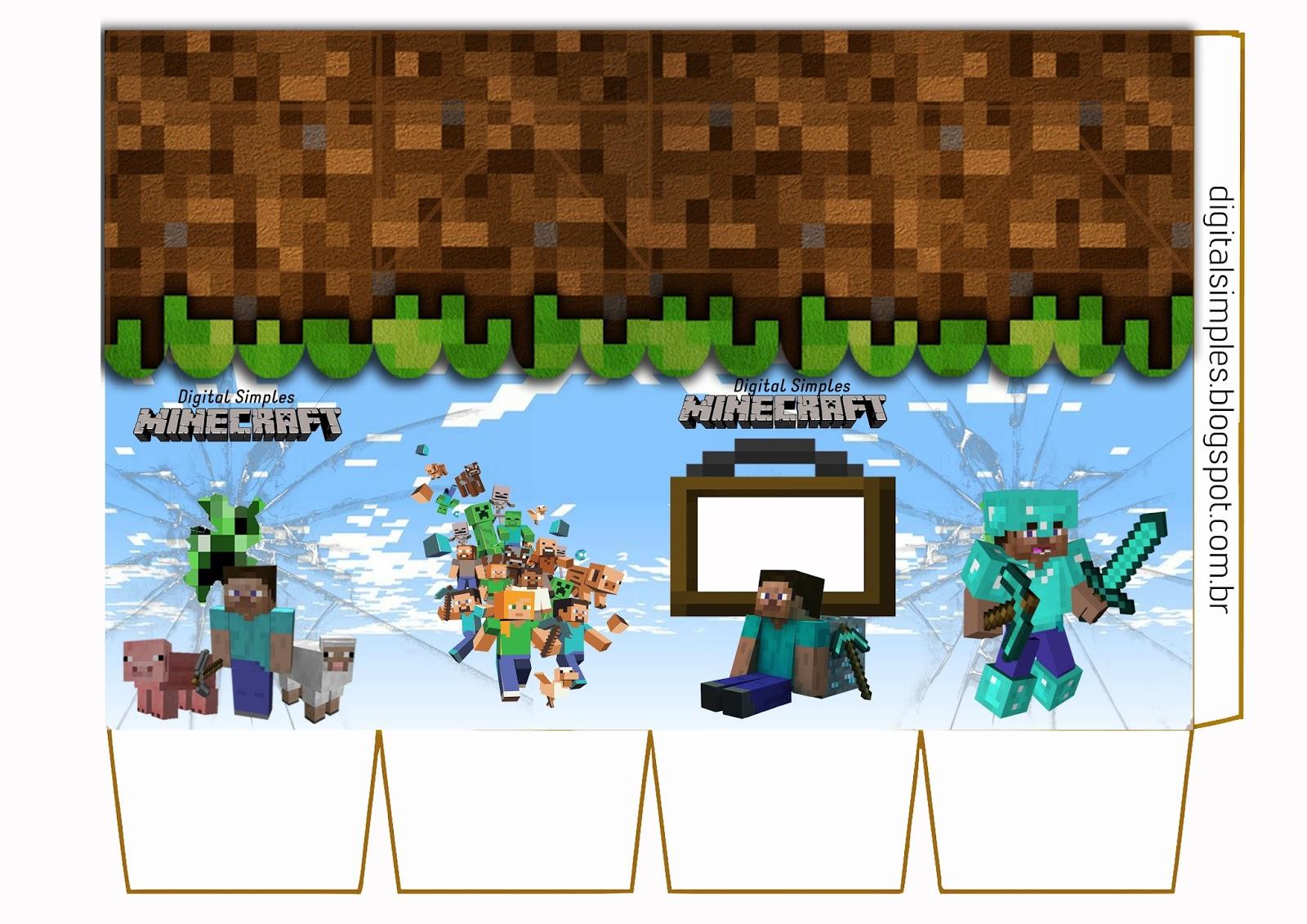 Festa Aniversario Digital Minecraft Para Imprimir Convites