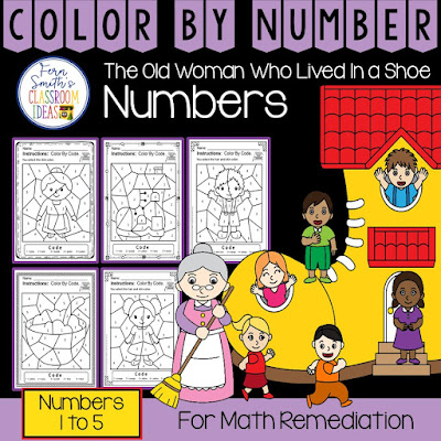 Color By Number For Math Remediation Numbers 1 to 5 - There Was An Old Woman Who Lived in a Shoe From Fern Smith's Classroom Ideas at TpT.